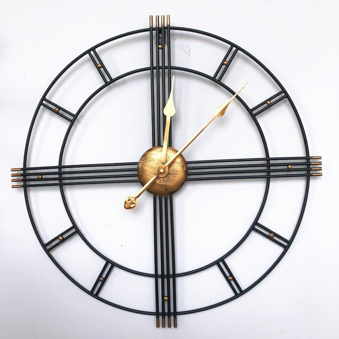 Grosse Horloge Fer Forgé nordic creative retro 60 cm en fer forgé métal horloge horloge murale  romaine design moderne salon silencieux décorative quartz