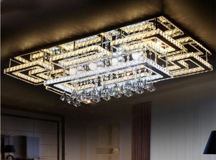 Luxury Modern LED Crystal Ceiling Light Square Ceiling Lamp K9 Crystal Ceiling Chandeliers for Living Room Bedroom Restaurant Light Fixtures