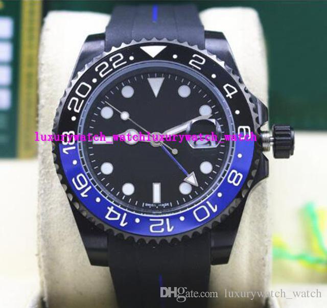 Hot Selling Luxury II 116710B 40mm Ceramic Bezel BATMAN PVD Coating Black/Blue Rubber Bracelet Mechanical Men Watches