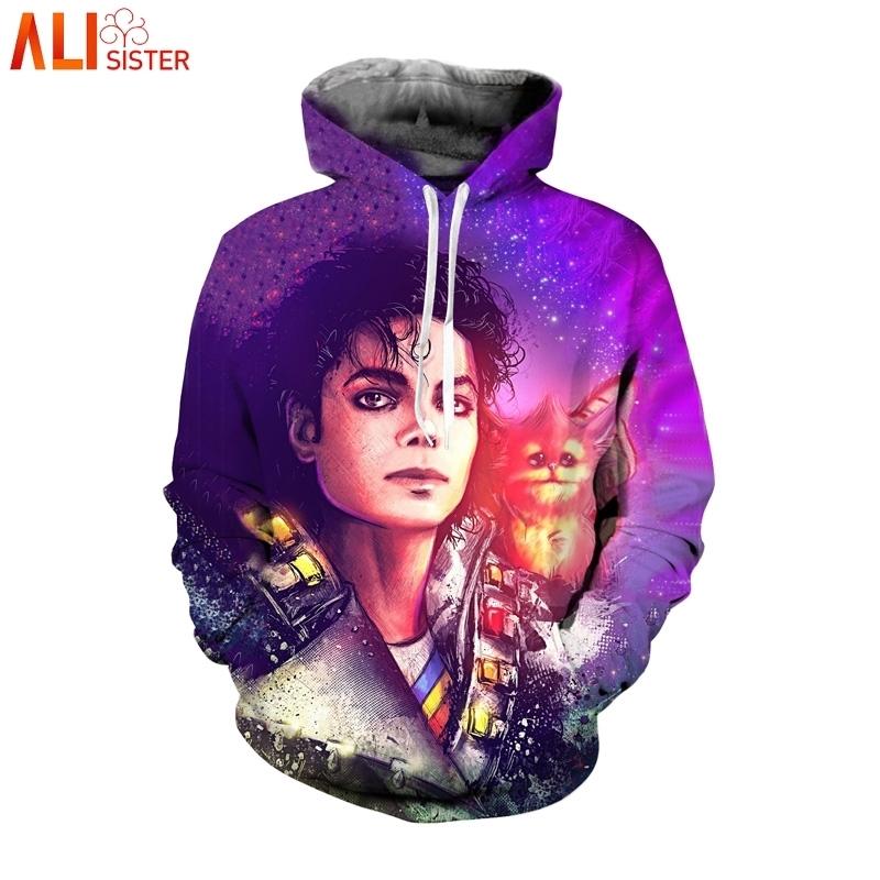 MenWomen 3D Print Michael Jackson Puzzle Hoodie Casual Sweatshirt Pullovers Tops