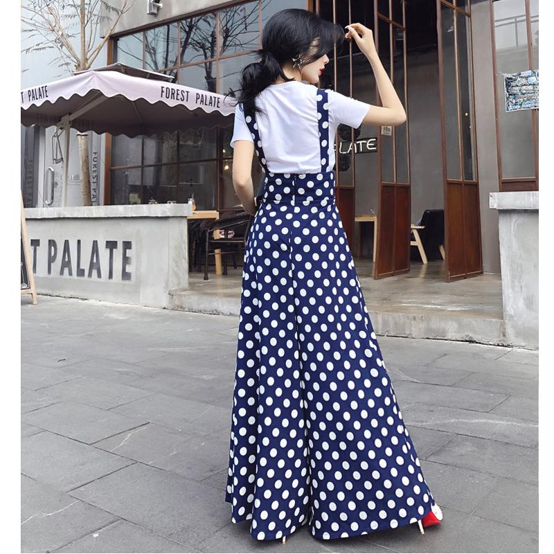 Vintage Plus Size England Style Flare Leg Jumpsuits Summer Fashion Dots Wide Leg Jumpsuits Skirt T5190606