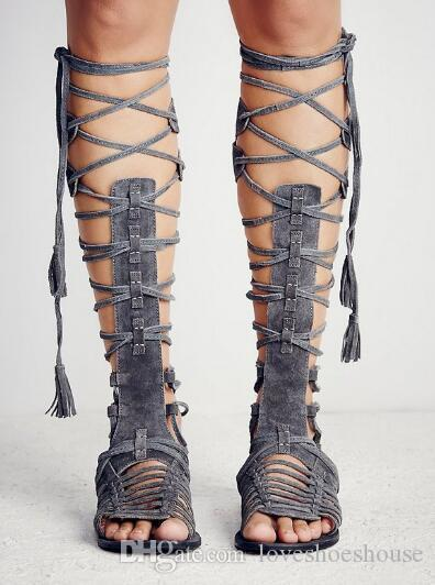 Sexy2019 Big Size Suede Lace Up Knee High Women Gladiator Sandals Rome Retro Style Cross Tied Flat Cage Bootie Sandals Shoes