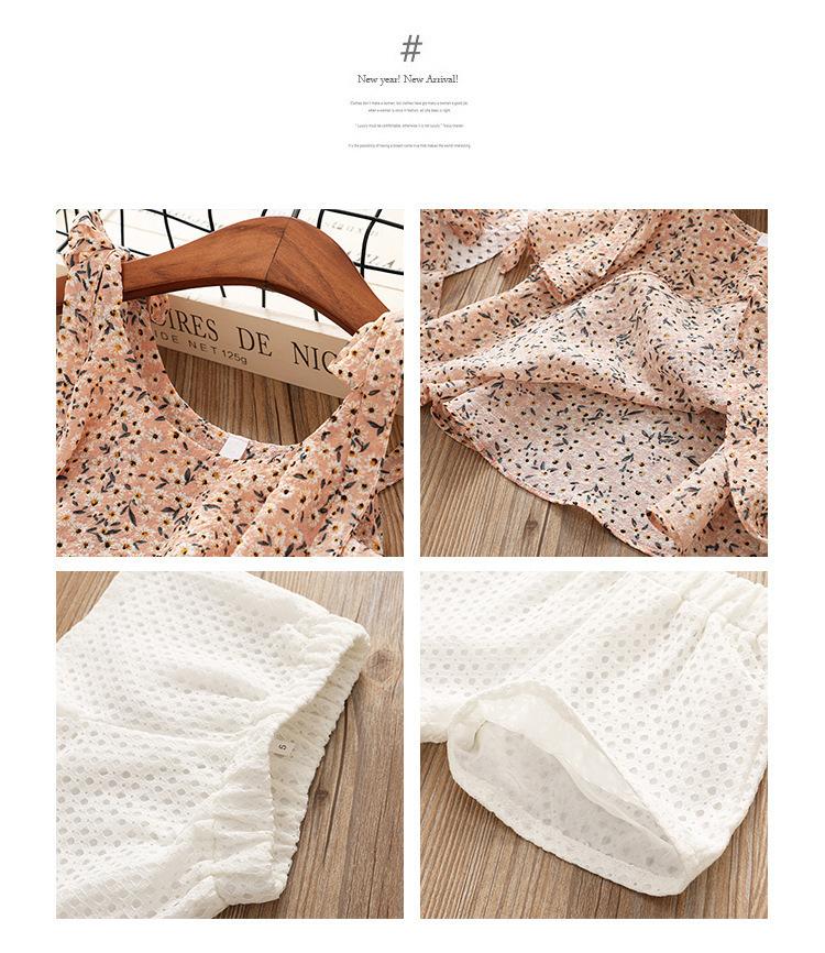 Chiffon Camisole Two Piece Suit Tong Terno quebrados Menina de flor Dois set piece Give Chapéus 0201
