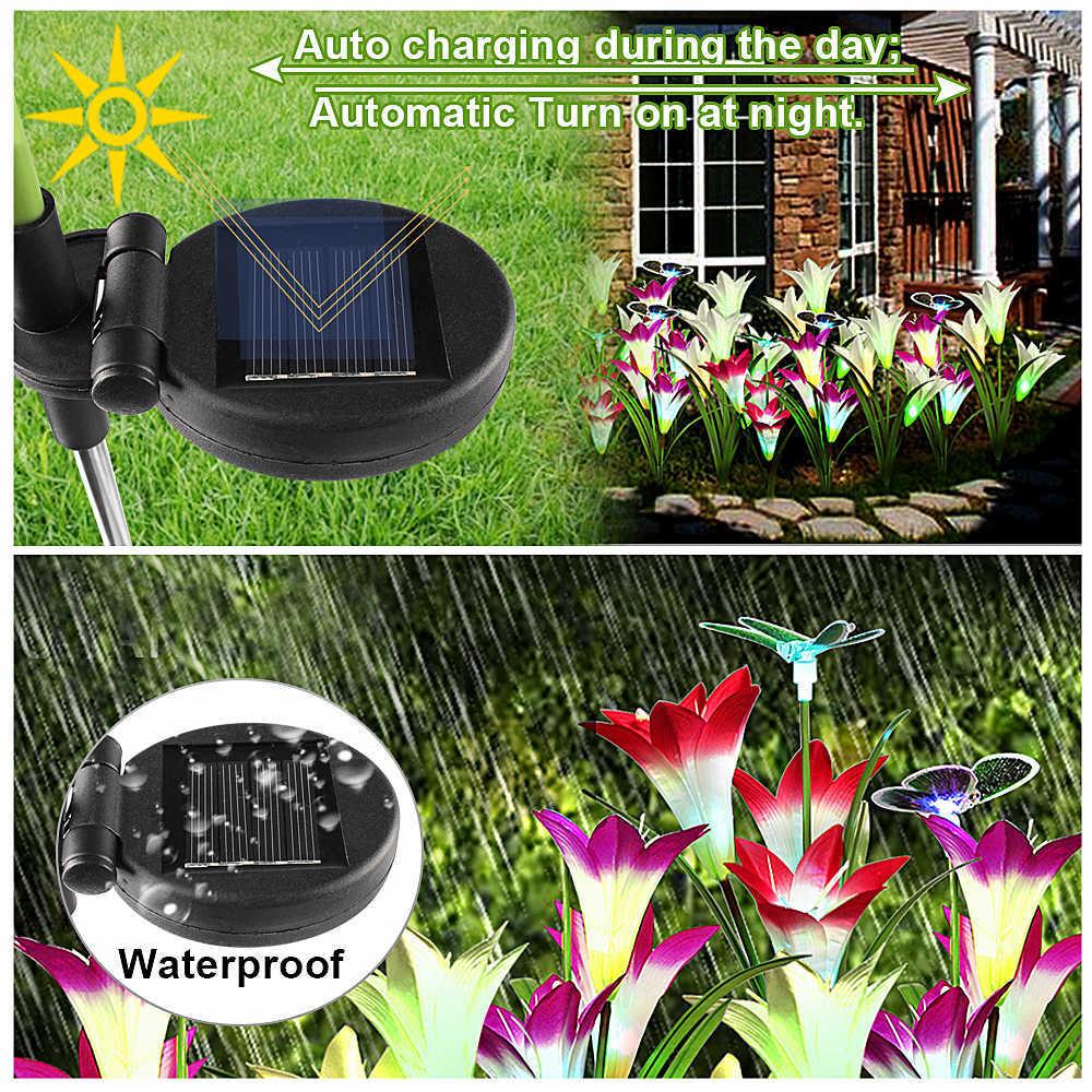 Solar Garden Light Outdoor Waterproof 7 Color Change Led Lawn Lamp Butterfly Flowers Fairy Lights