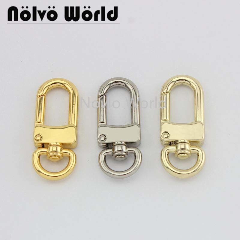 Silver Tone D Swivel Trigger Hooks Key Ring Lobster Clasps 9 Pcs ED