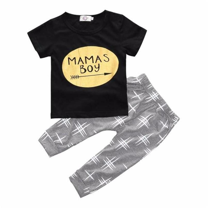 2PCS Kids Boys Clothes Boys Sets Infant Toddler Kids Baby Boys Letter Printed Short Sleeve T-shirt Tops+Long Pants Set JY26#F (2)