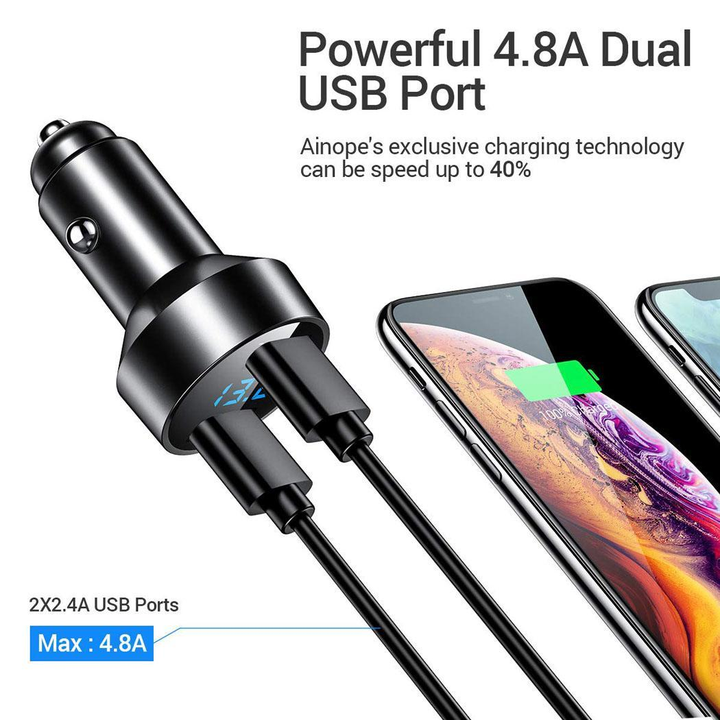 Novo Dual Cigarro Isqueiro Carregador de Carro USB Display LED Carregador de Telefone Móvel Novo Dual USB Car Charger