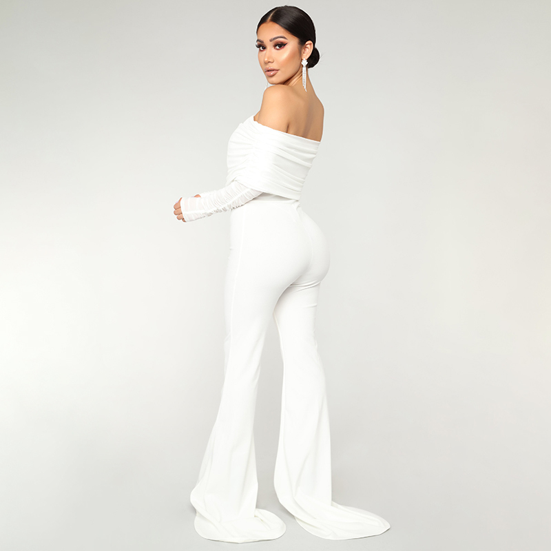 Tobinoone Autumn Winter Sexy Jumpsuit Overalls Women Long Sleeve Rompers Club Party Vacation Off The Shoulder Casual Bodysuit Y19060501