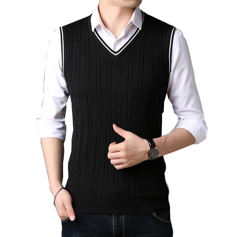 PJ Classic Knit Wear Sleeveless V-Neck Mens Sweater Vest Winter Spring Knitwear