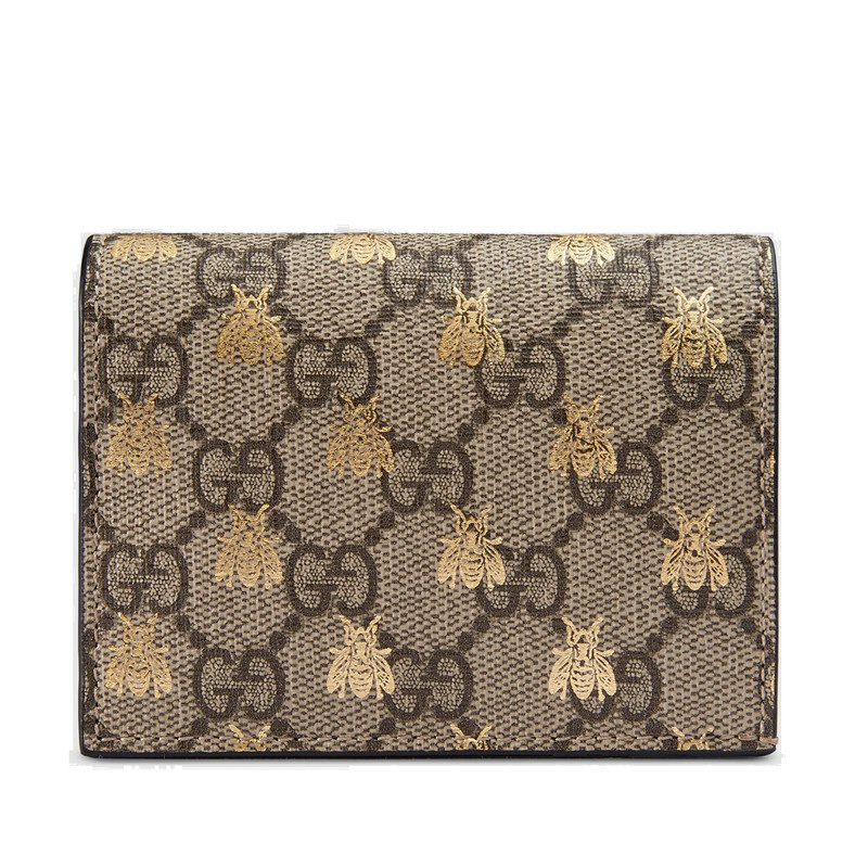 [Package tax] GUCCI / Gucci GG Supreme ladies beige canvas gold honey pattern short folded wallet