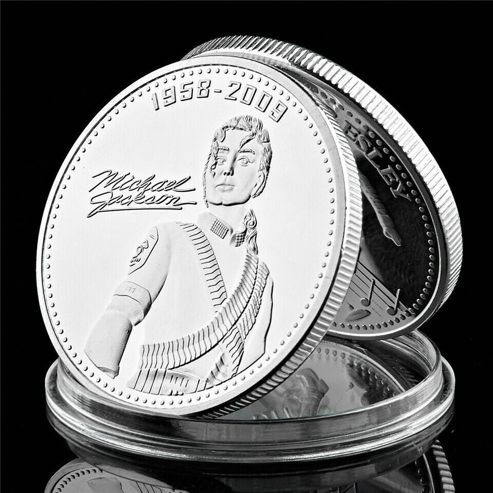 7pcs Michael Jackson 999.9 Silver Plated Metal Coin Decorative Gift Coin Crafts