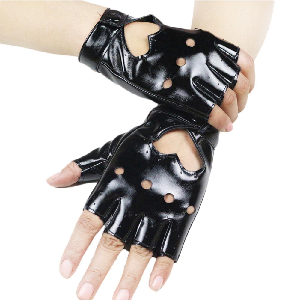 Motorcycle Women Rivets Studded Punk Fingerless Dancing Jazz Gloves Shows HOT