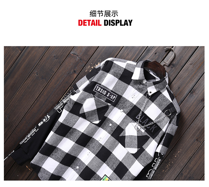 Red And Black Plaid Patchwork Shirt Men (18)
