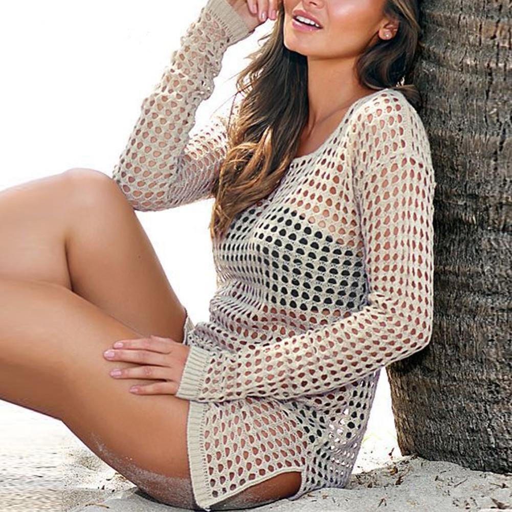 2018 Summer Women Sexy Mesh Knitted Crochet Beach Tops T Shirts Swimsuit Cover Up Swimwear Bikini Wrap Bathing Suit