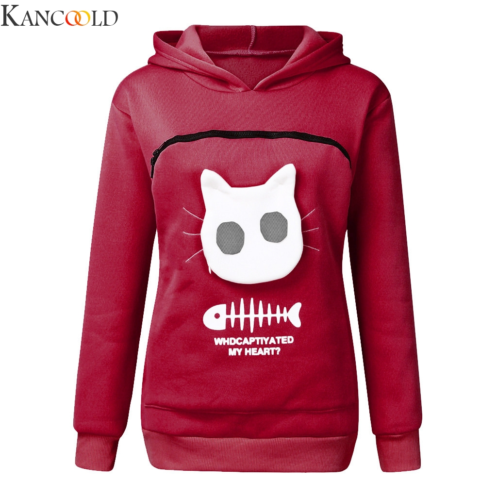 Cute Dog Or Cat Footprints Boys Hoody Sweater Pullover Drawstring Pocket Breathable Coat for Student