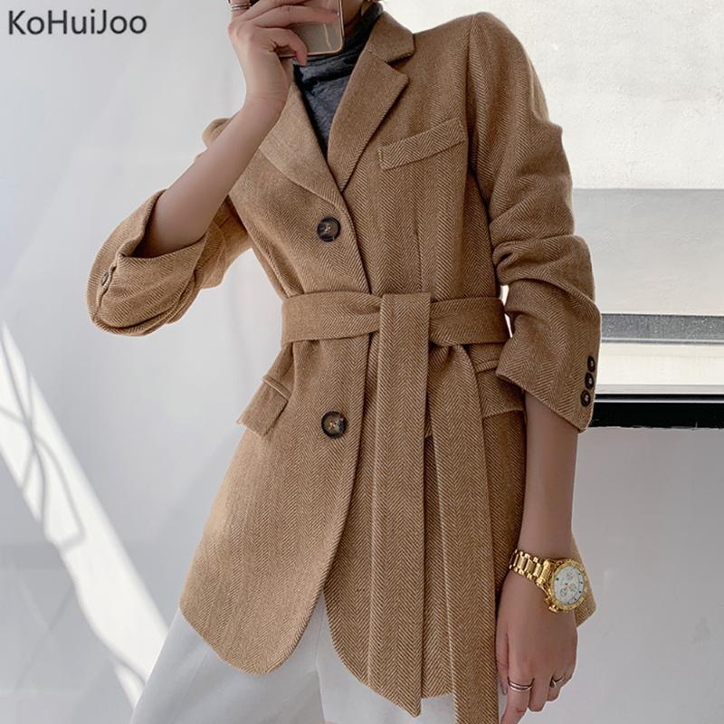 Retro Vintage Womens Casual Long Trench Coat Belt Woolen Jacket Peacoat Overcoat