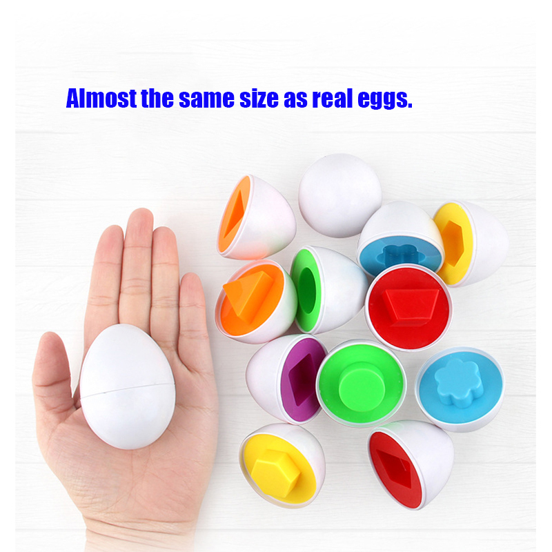 Baby Toy Egg White Colorful Triangular Circle Learning Education Toddler Sorting Nesting Stacking Toys