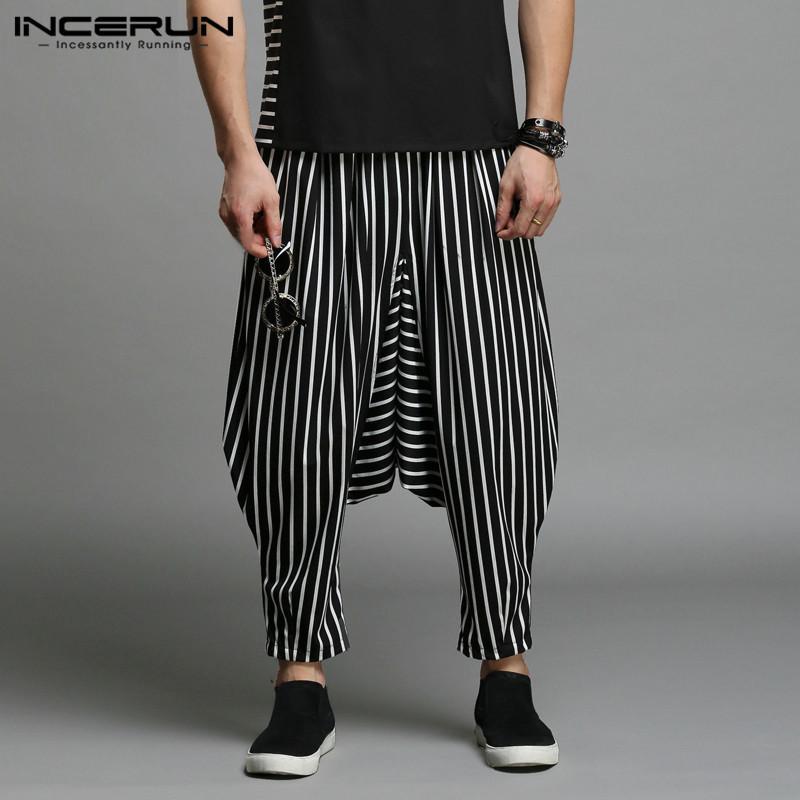 Incerun Japan Style S-5xl Cross-pants Men Irregular Striped Patchwork Harem Pants Men's Trousers Big Male Drop Crotch Plus Dance C19040101