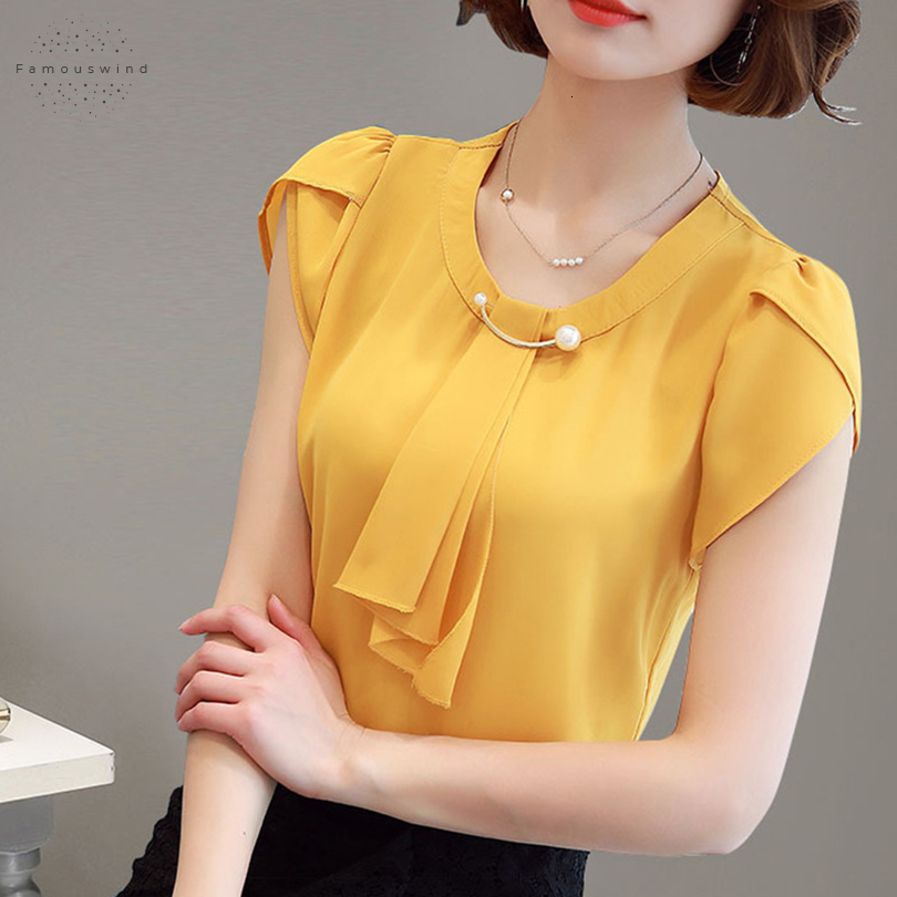 Blouses d'été Bow Femmes en mousseline de soie Shirt Bureau Slim Hauts manches courtes Chemises coréenne Chemisier col volanté Jaune Rouge blusas