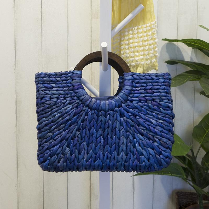 Women Vintage Rattan Handbag Female Bohemian Summer Beach Straw Bags Lady Simple Weave Bag Handmade Casual Large Tote SS3032 (2)