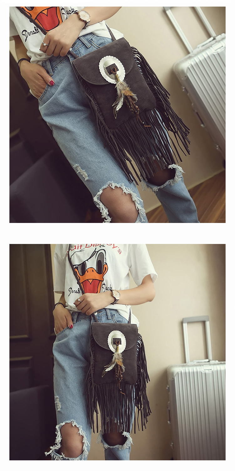 Female Small suede Bag Brown Beaded Feathers Hippie American Indian Tribal Bohemian Boho Chic Ibiza Style Pouch Bag (12)