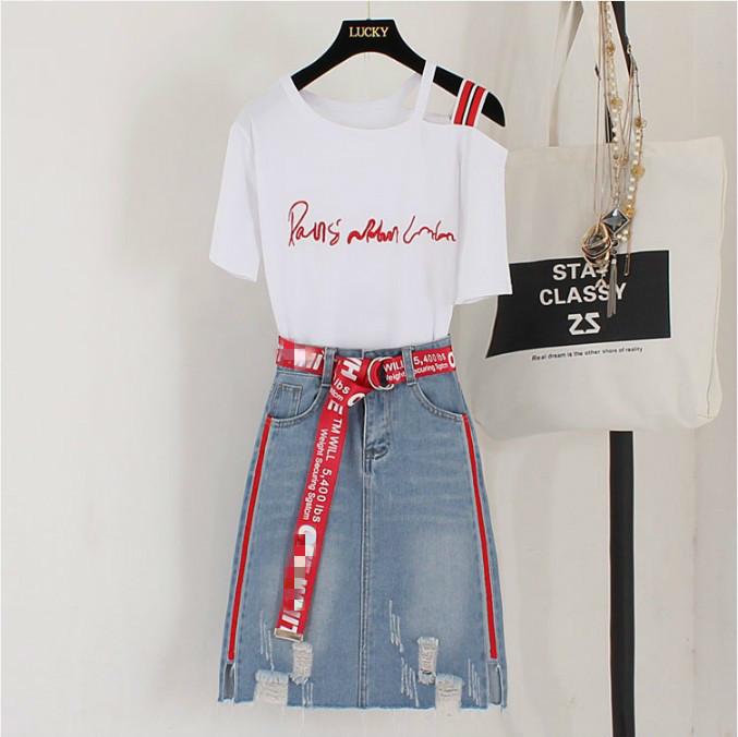 Nuove donne di modo lettera ricamo senza spalline t-shirt + irregolare jeans rossi due pezzi studente ragazze gonna casual vestito q190507