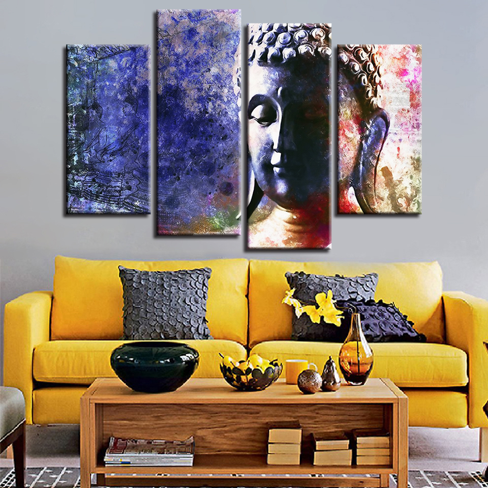 Canvas Painting For Living Room Home Decor Wall Art Buddhism Abstract Buddha Statue Pictures HD Prints Poster Framework