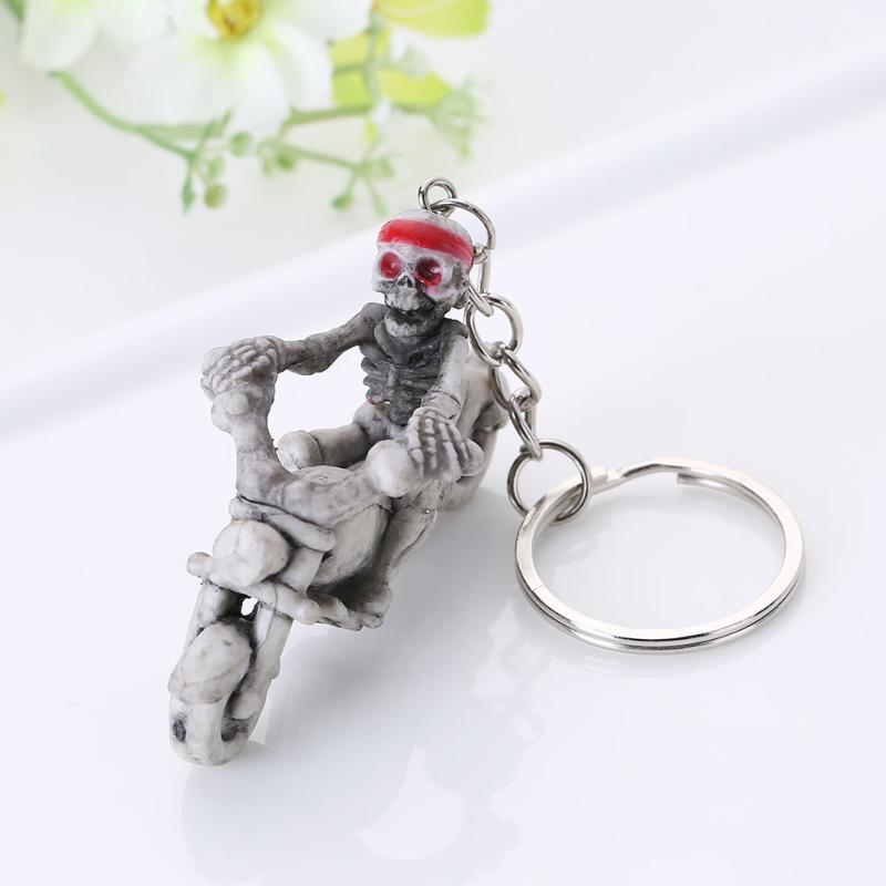 Moto Biker Punk Rubber Skulls Purse Bag Keychain Keyring Gift Car Key Chain NEW