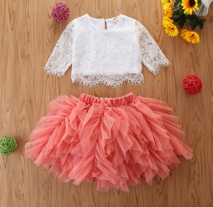 Tassels Skirt US 2Pcs Set 2019 Outfits Kids Baby Girl Party Dress Floral Top
