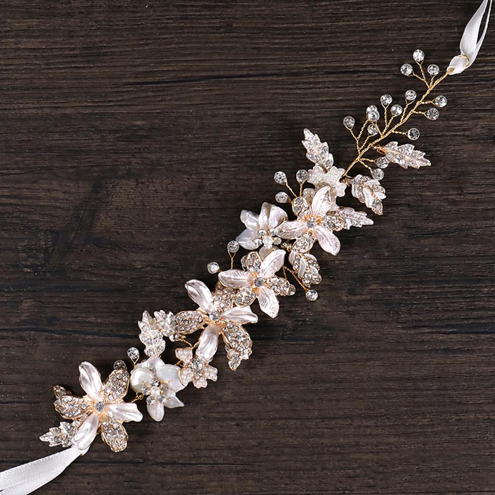 Bridal Headband Leaves Flowers Shells Hair Jewelry Ribbon Hair Band Headwear Hair Accessories for Girls Women