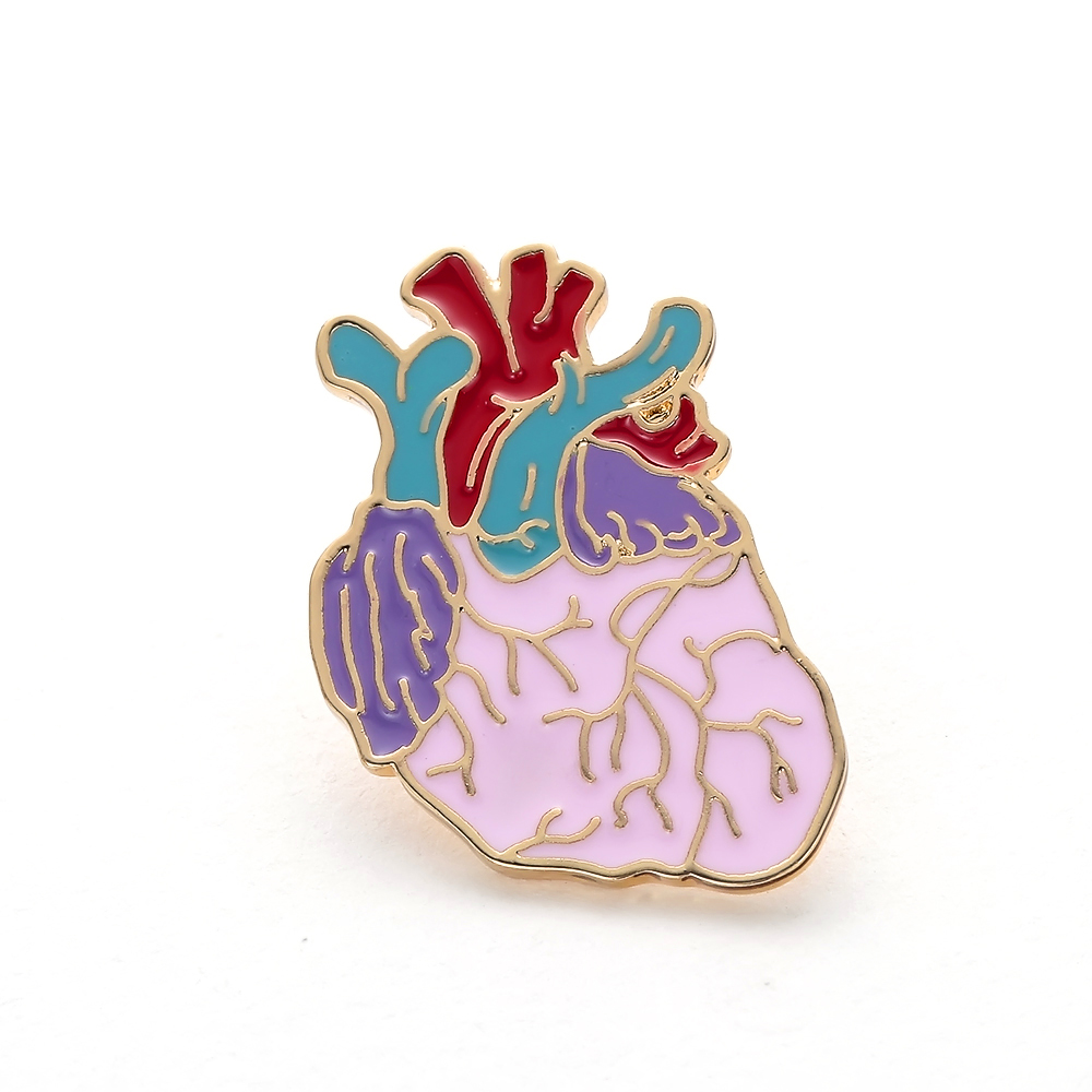 Enamel Heart Pin Badge Anatomical Brooch cute Christmas Gift Medical Pins for Backpack Women Nurse Metal Lapel Jewelry Wholesale