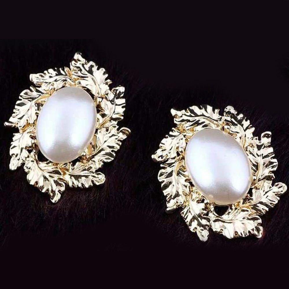 1Pair Mens Women Baroque Pearls Hoop Ear Stud Earrings Gothic Dangle Wedding