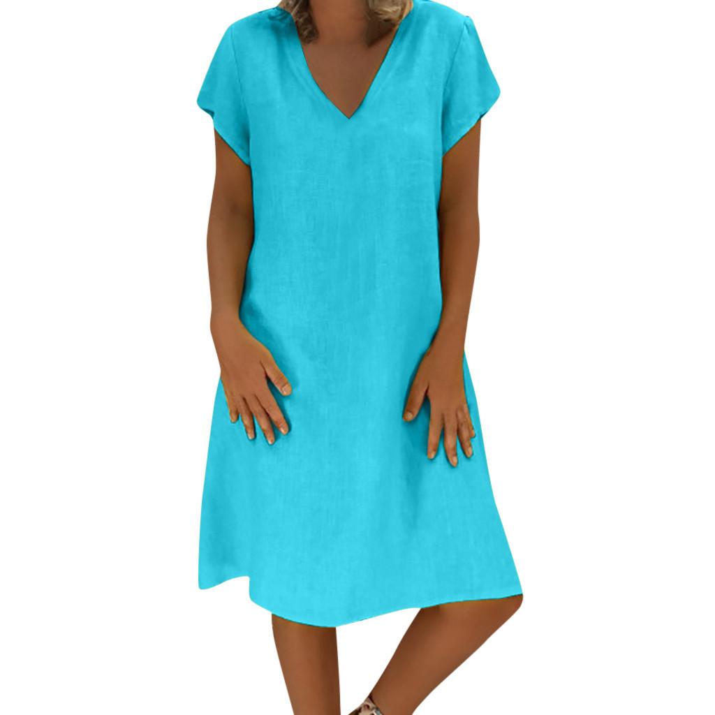2019 Dress Women Summer Style Feminino Vestido T-shirt Cotton Casual Plus Size Ladies vestidos de fiesta #25 Dropshipping