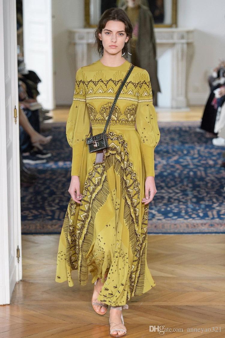 Milan Runway Dress 2019 New Yellow Lantern Sleeve Landscape Print Irregular Designer Dress Brand Same Style Dress 182