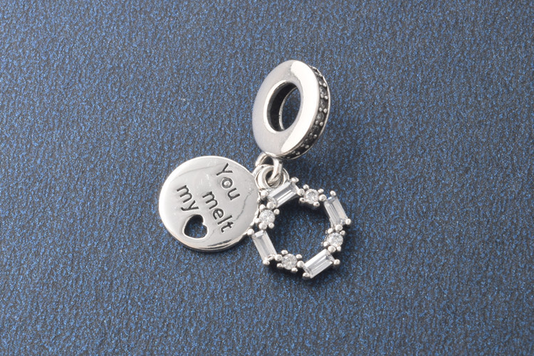 4bde06b8b 925 Sterling Silver You Melt My Heart Letter Carved Pendant Beads fit  Pandora Bracelet Forever Love Cycle Charm Christmas Gift