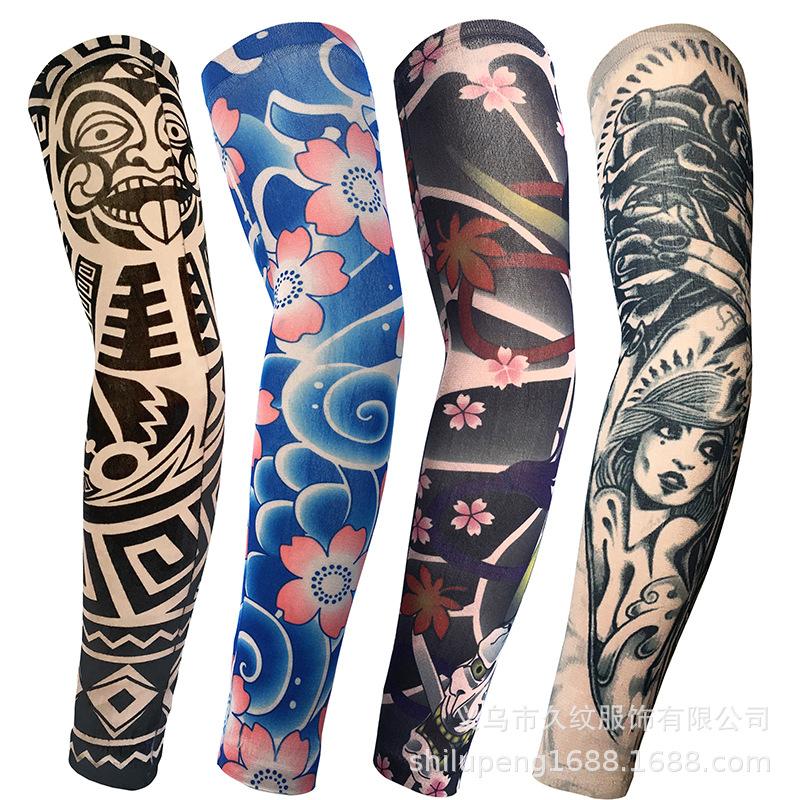 Mangas del Tatuaje Temporal Falso de Nylon 1pcs Tatuaje de Halloween Suave Mangas Frescas para Hombres Mujeres Protector Solar de Montar a Caballo al Aire Libre