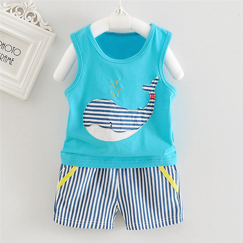 2PCS Baby Sets Newborn Baby Boys Girls Sleeveless Cartoon Whale Print Top+Striped Shorts Sets Clothes Suit For 6-24M M8Y07 (14)