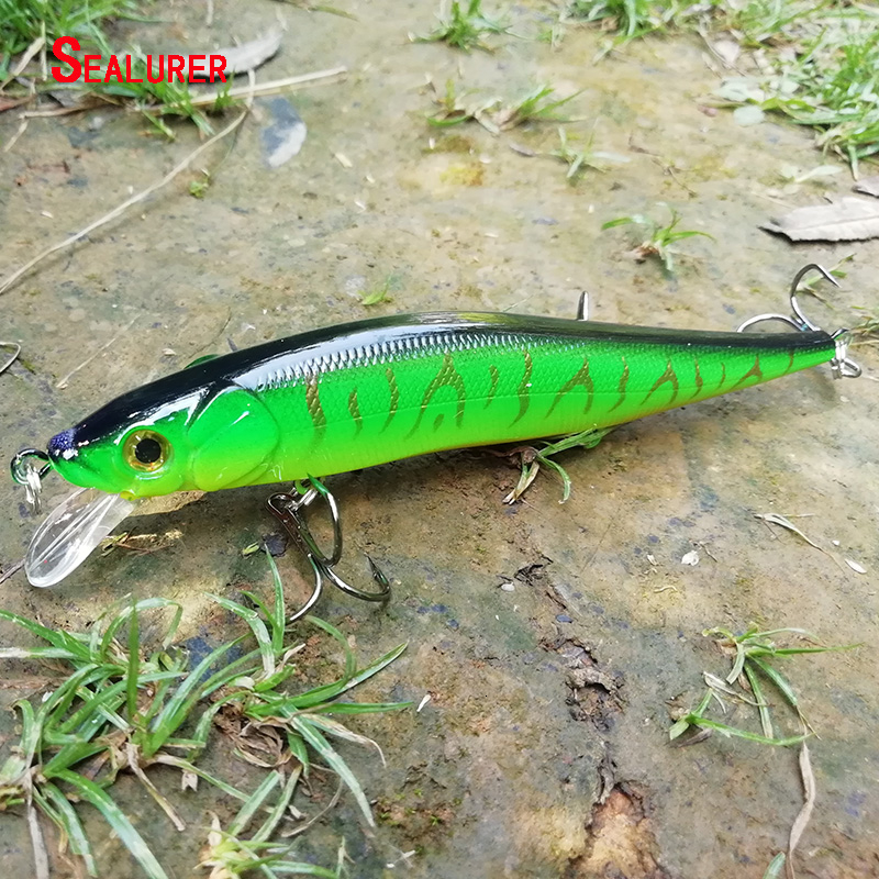1pc 9.5cm//8.5g minnow hard fishing lure with hooks wobble floating crank bait YE