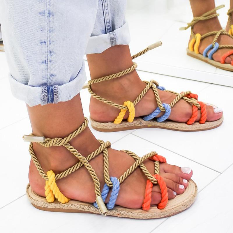 Femmes Sandales 2019 Chaussures D'été De Mode Femme Sandale Plat Chanvre Corde À Lacets Gladiateur Sandales Antidérapant Plage Chaussures Femme