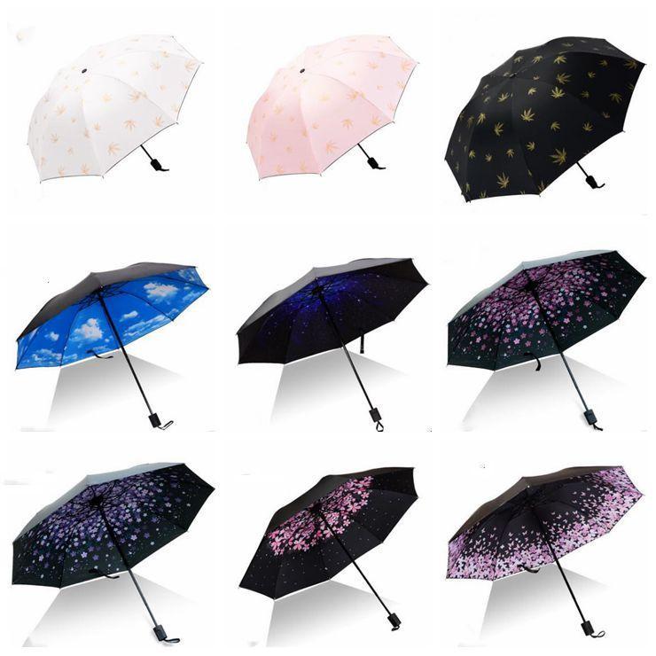 Canadian Maple Leafs Poster fashion print cute Windproof automatic tri-fold umbrella sun UV protection Sun umbrella
