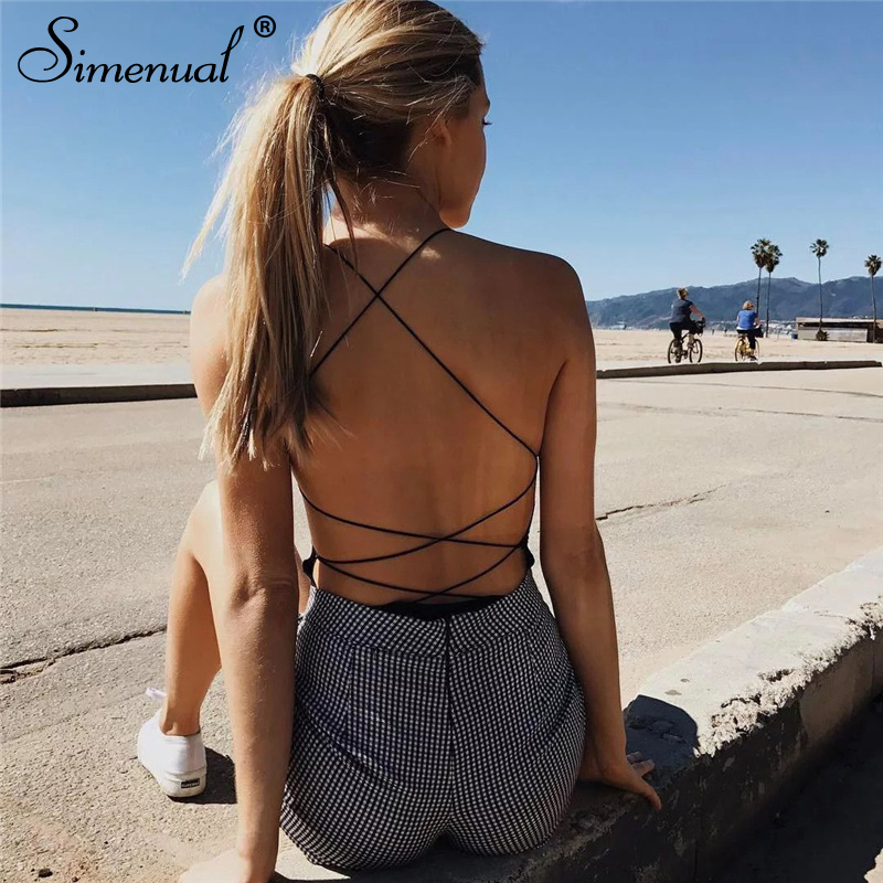 backless sleeveless summer bodysuit sexy hot one piece overalls criss cross strap play suit(1)
