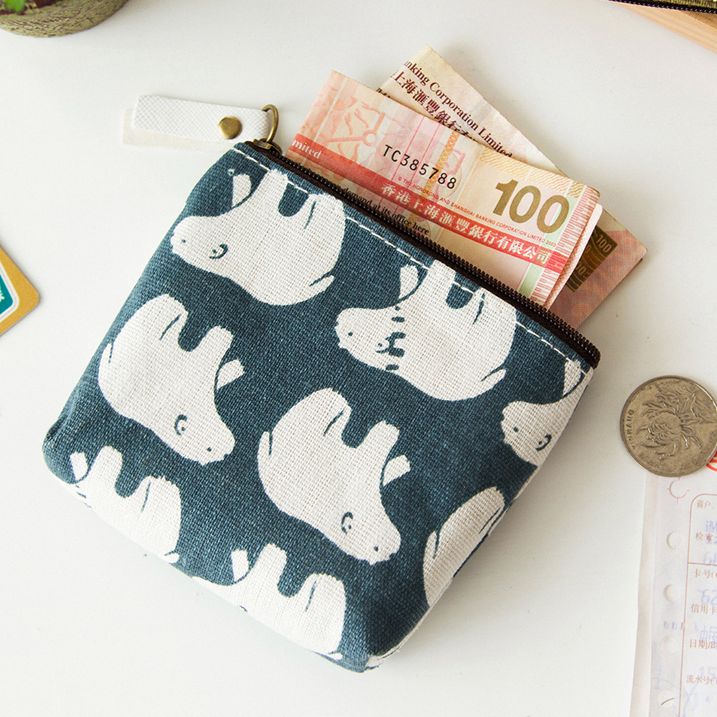New Style Small Fresh Animal Canvas Mini Change Coin Purse Bag Zipper Wallets for gift
