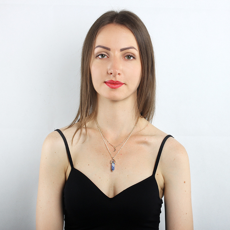 European and American fashion double moon hexagonal column pendant necklace female simple clavicle chain jewelry wholesale