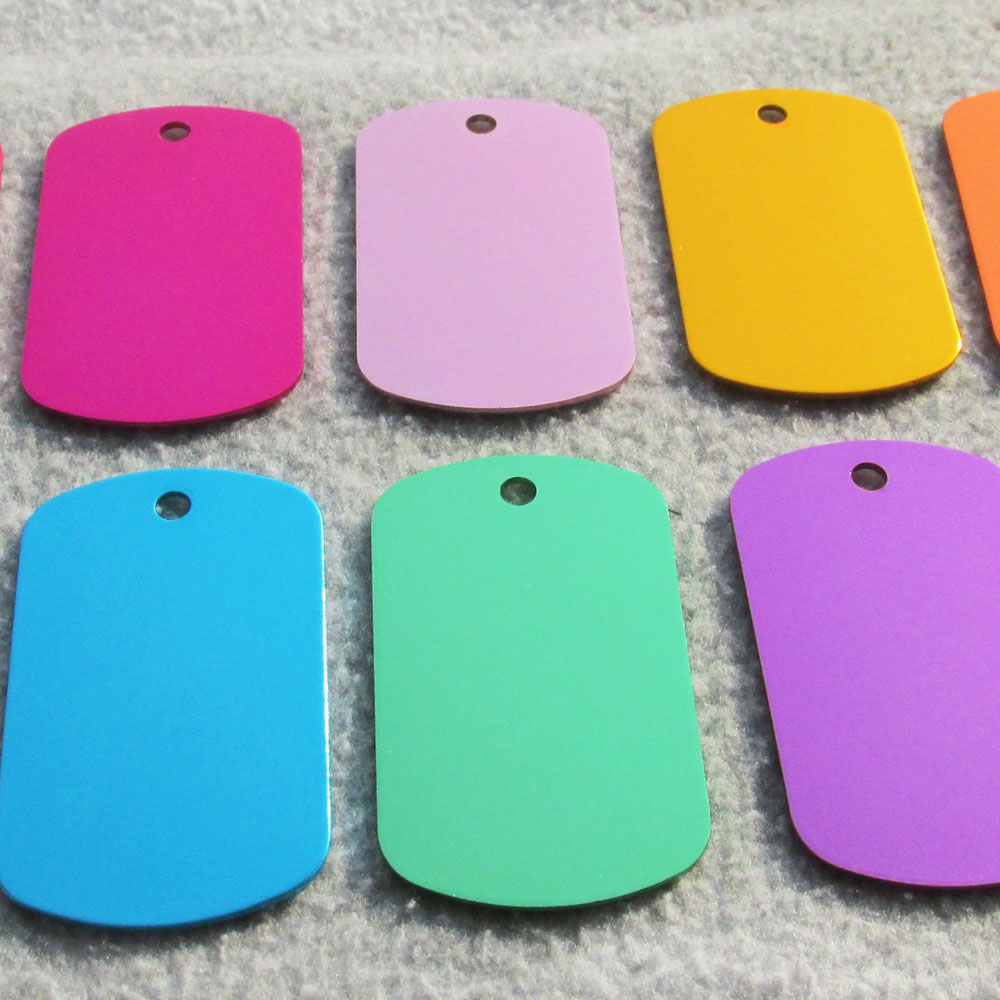 100pcs/lot Aluminum Alloy Blank Army Dog Tags, Pet Dog Tags Men Pendants with anodized surface
