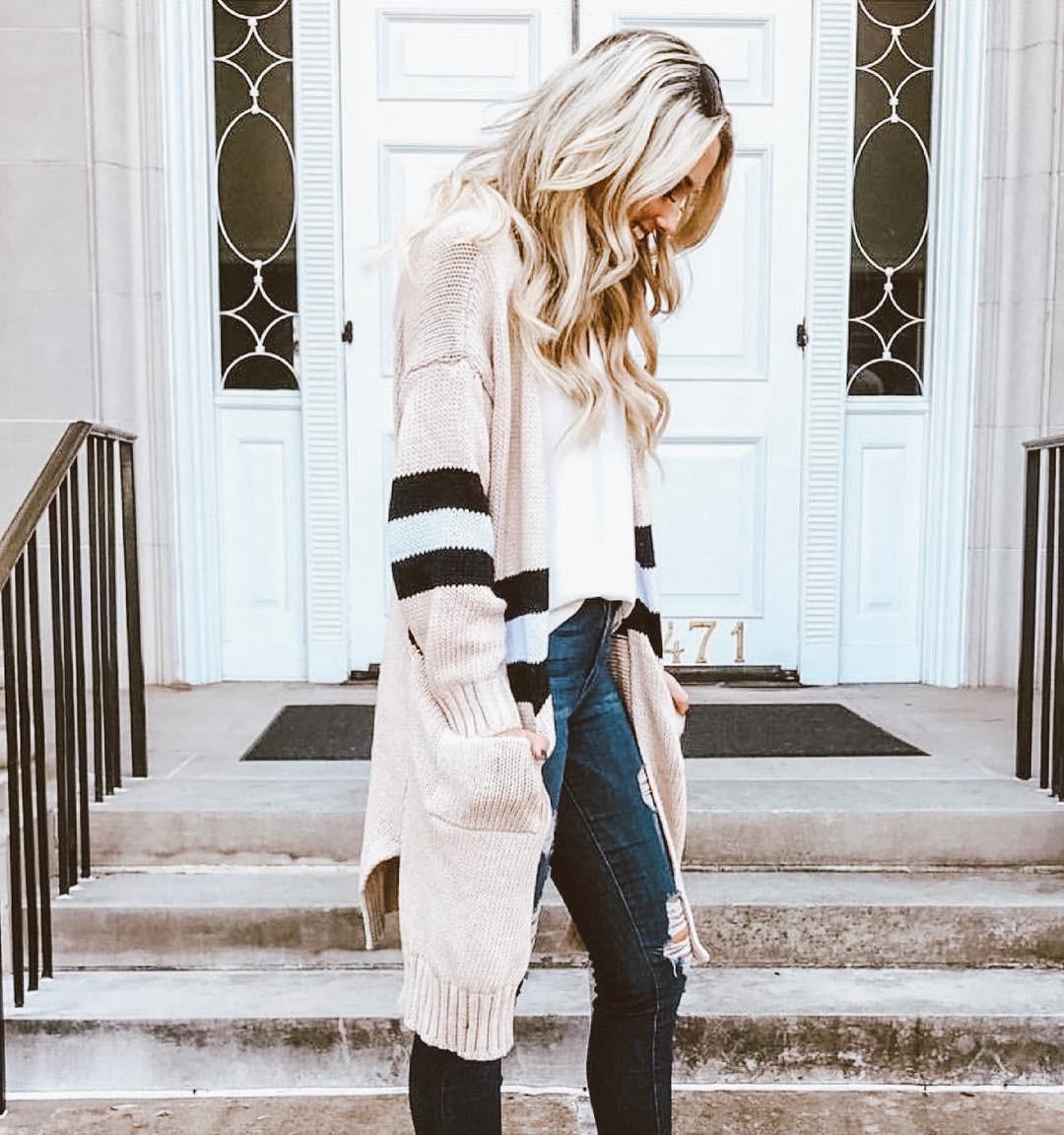 Jacket Women Women's Long Sleeve Knitwear Lady Open Front Cardigan Sweaters Casual Outerwear Chaqueta Mujer T3190605
