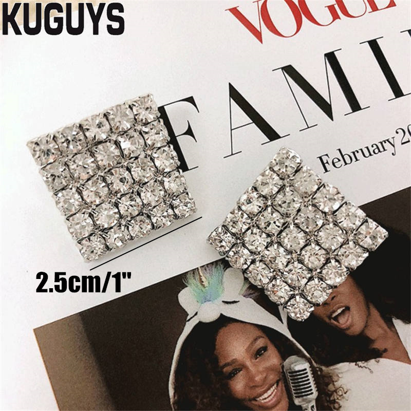 KUGUYS Fashion Jewelry Trendy Square Crystals Earrings for Women Hyperbole Metal Stud Earring Brincos Party Wedding Accessories