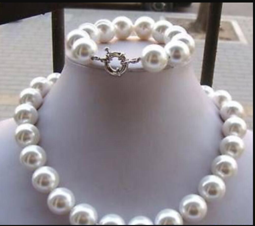 """8 Mm Véritable corail rouge South Sea Shell Perle Collier Bracelet Bijoux Set 18/"""""""