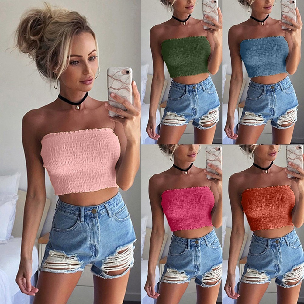 Top Women Strapless Sexy Lady Ruched Elastic Boob Bandeau Tube Bra Breast Wrap Crop Tops Bras Vest Lingerie C19040201