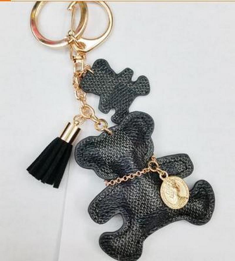 Nouveau mode original en cuir PU ours porte-clés pour les filles en cuir Tassel or Keychain Femmes Sac voiture Accessoires Bijoux Charm bibelot cadeau