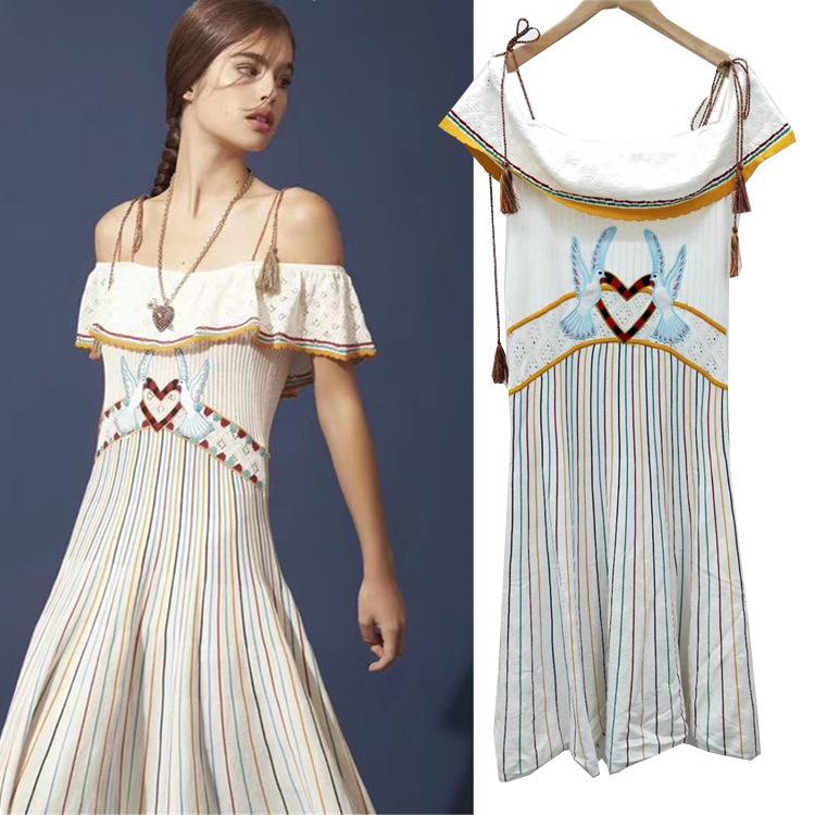 5d6278289756 Promotion2019 Summer Single Delicate Embroider Love Bird Dress Lotus Leaf  Pendulum Collar Shoulder Tying Rope Female